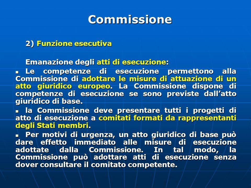 Commissione 2) Funzione esecutiva Emanazione degli atti di esecuzione: