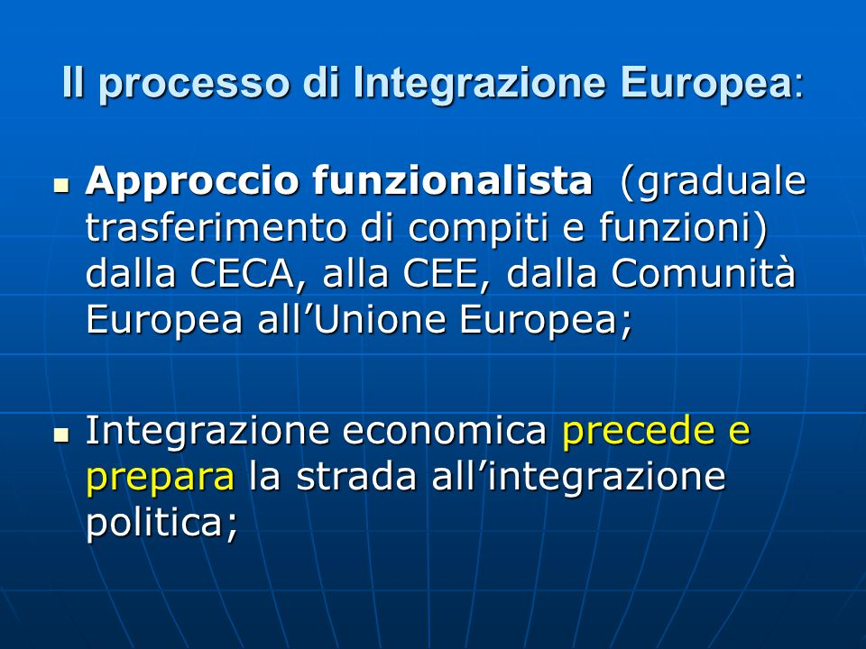 Il processo di Integrazione Europea: