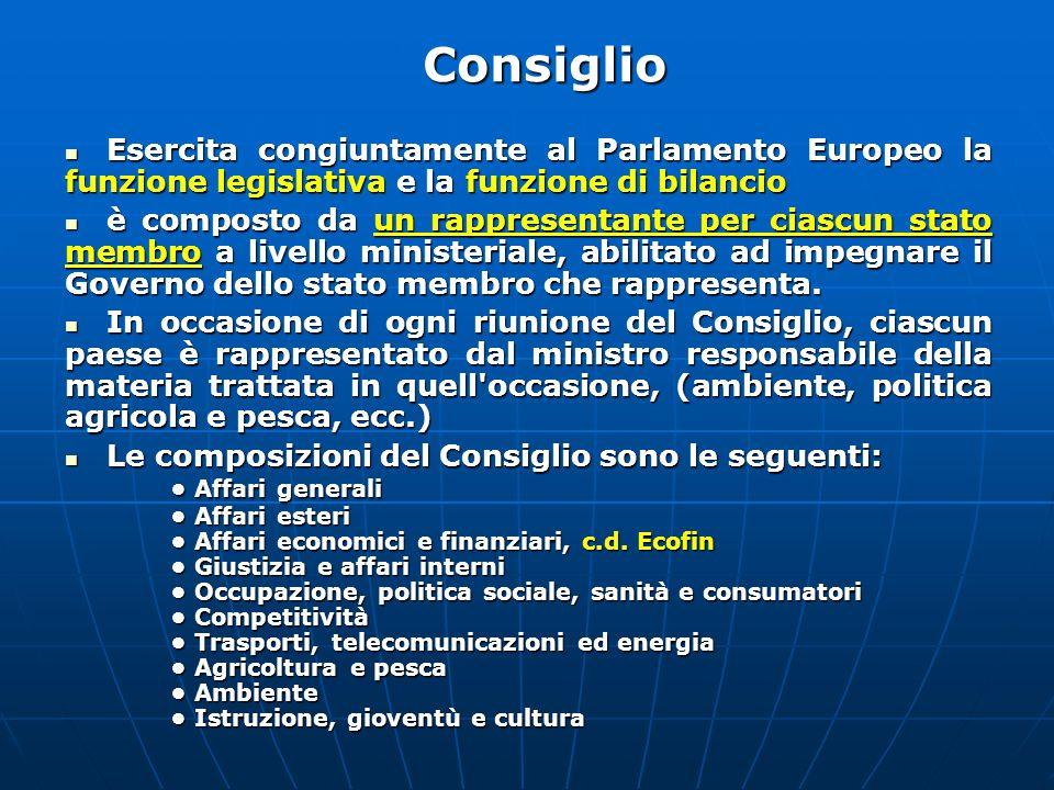 Consiglio Esercita congiuntamente al Parlamento Europeo la funzione legislativa e la funzione di bilancio.