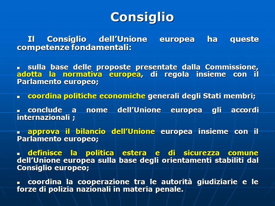 Consiglio Il Consiglio dell'Unione europea ha queste competenze fondamentali: