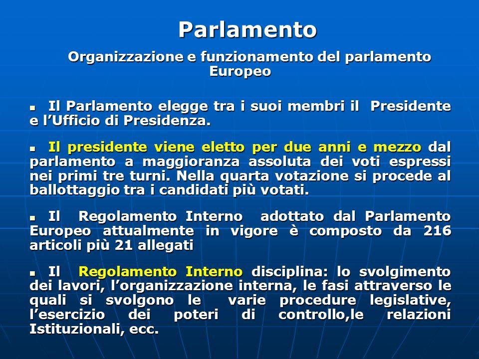 Organizzazione e funzionamento del parlamento Europeo