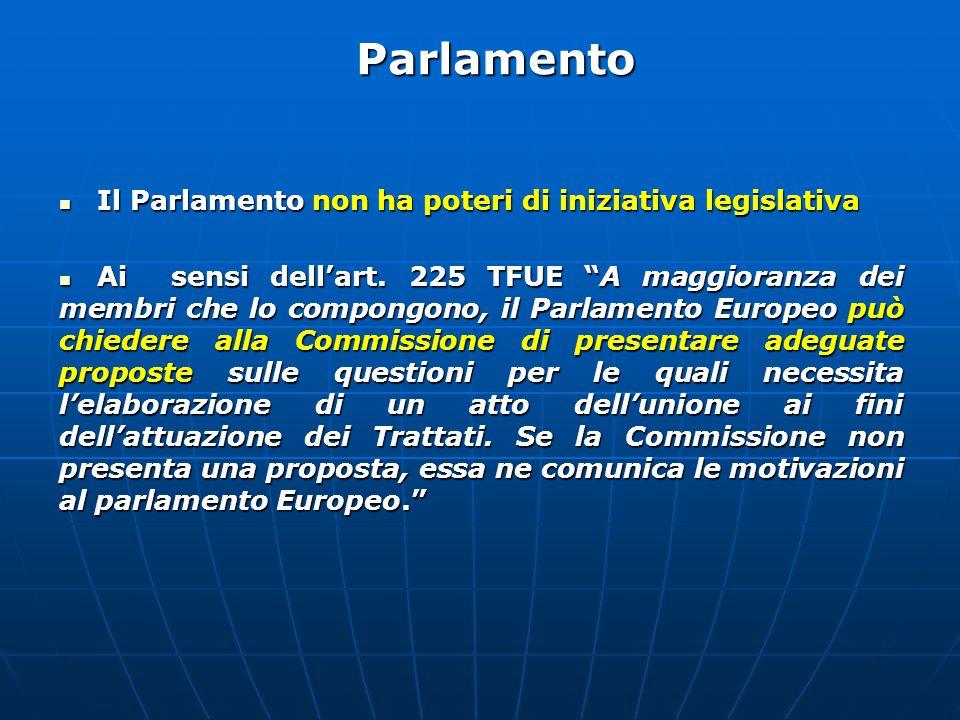 Parlamento Il Parlamento non ha poteri di iniziativa legislativa