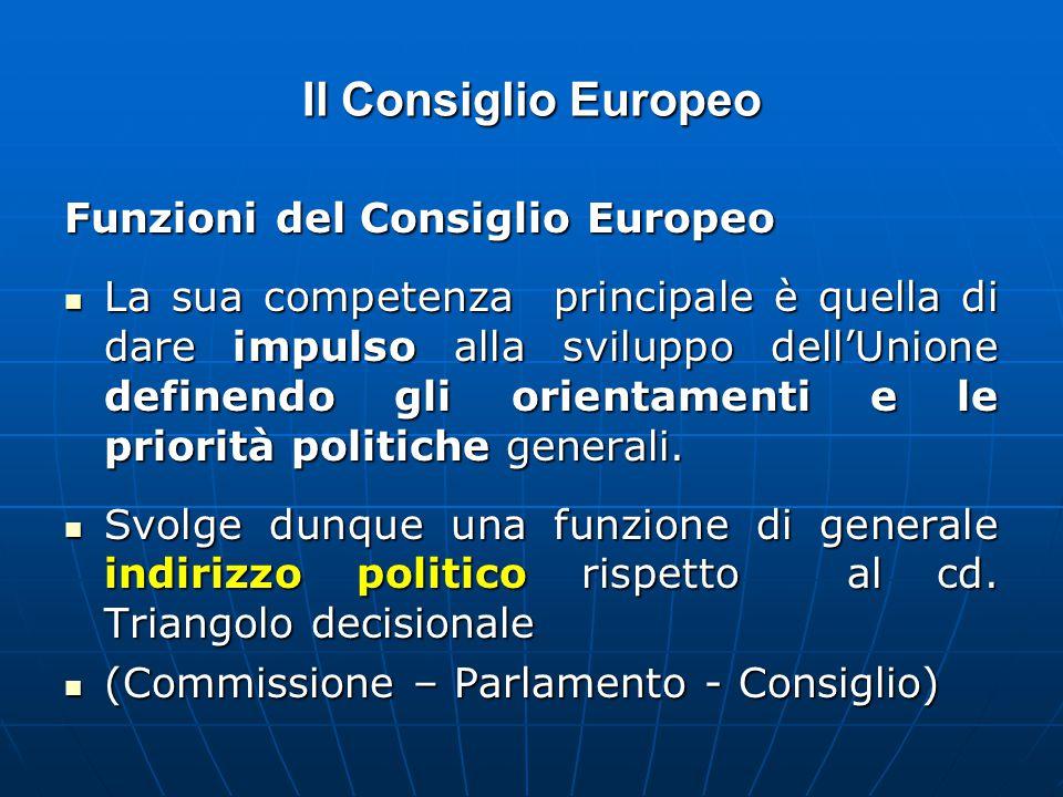 Il Consiglio Europeo Funzioni del Consiglio Europeo