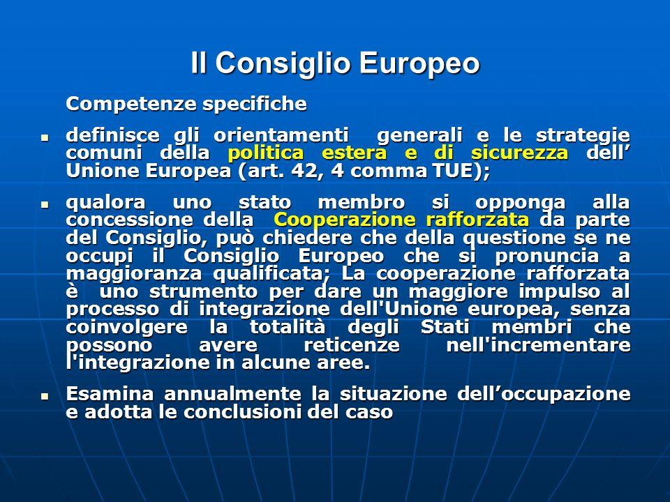 Il Consiglio Europeo Competenze specifiche