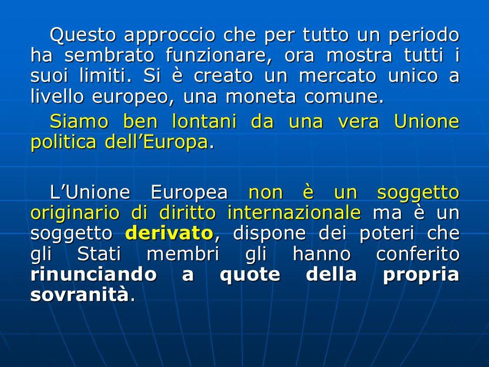 Questo approccio che per tutto un periodo ha sembrato funzionare, ora mostra tutti i suoi limiti. Si è creato un mercato unico a livello europeo, una moneta comune.