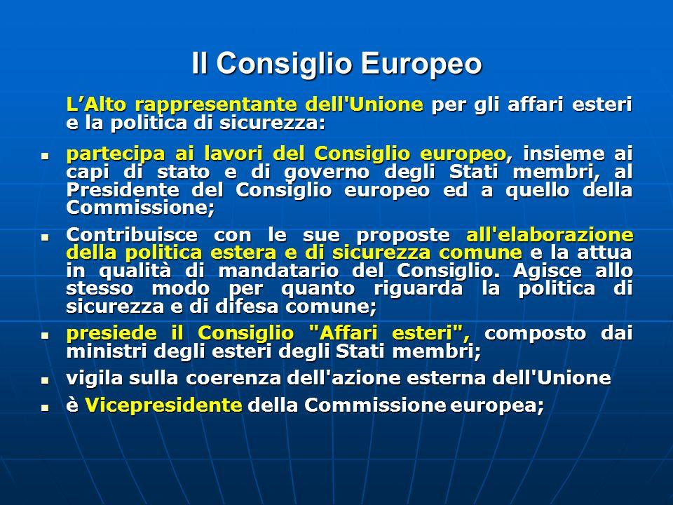Il Consiglio Europeo L'Alto rappresentante dell Unione per gli affari esteri e la politica di sicurezza: