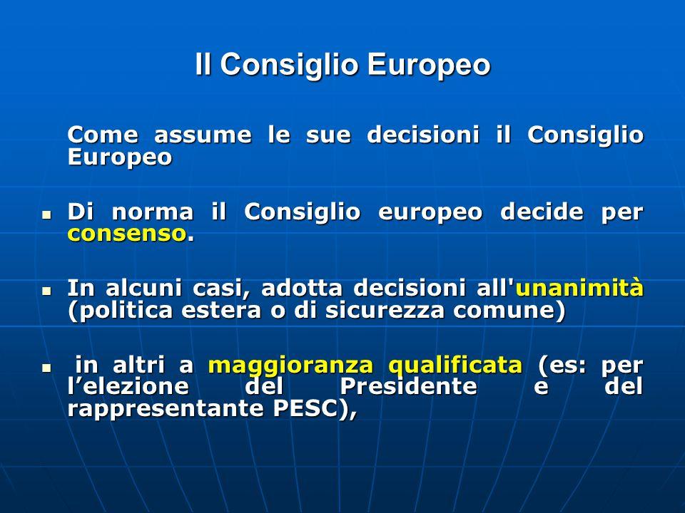 Il Consiglio Europeo Come assume le sue decisioni il Consiglio Europeo