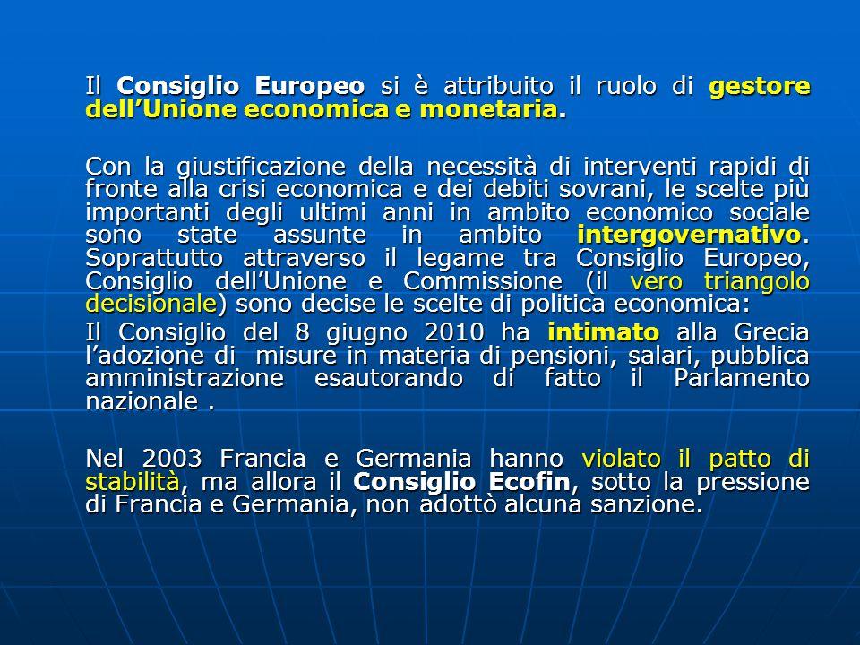 Il Consiglio Europeo si è attribuito il ruolo di gestore dell'Unione economica e monetaria.