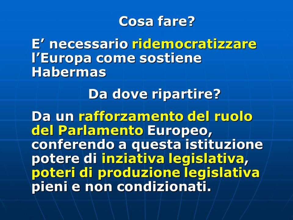 Cosa fare E' necessario ridemocratizzare l'Europa come sostiene Habermas. Da dove ripartire