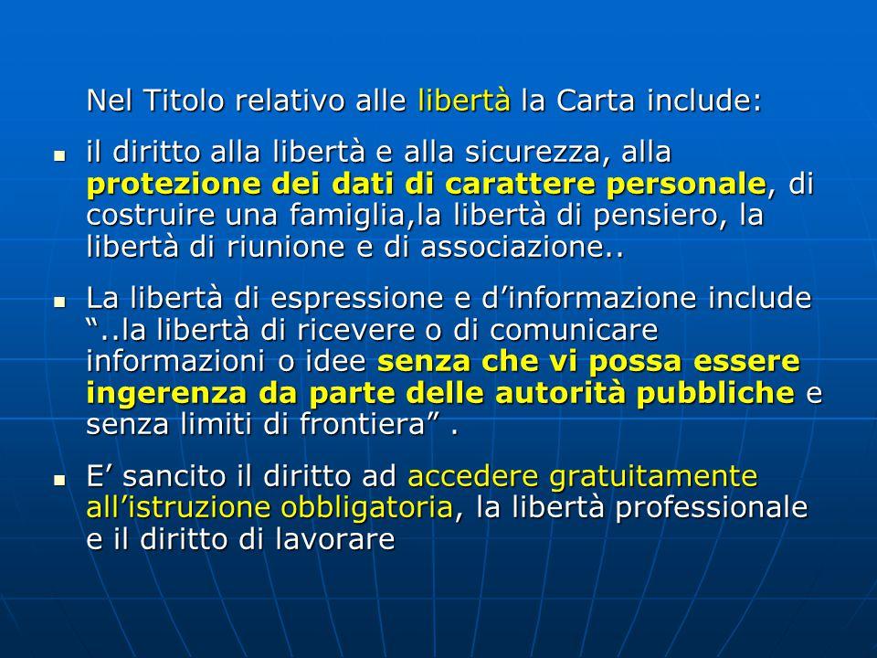 Nel Titolo relativo alle libertà la Carta include: