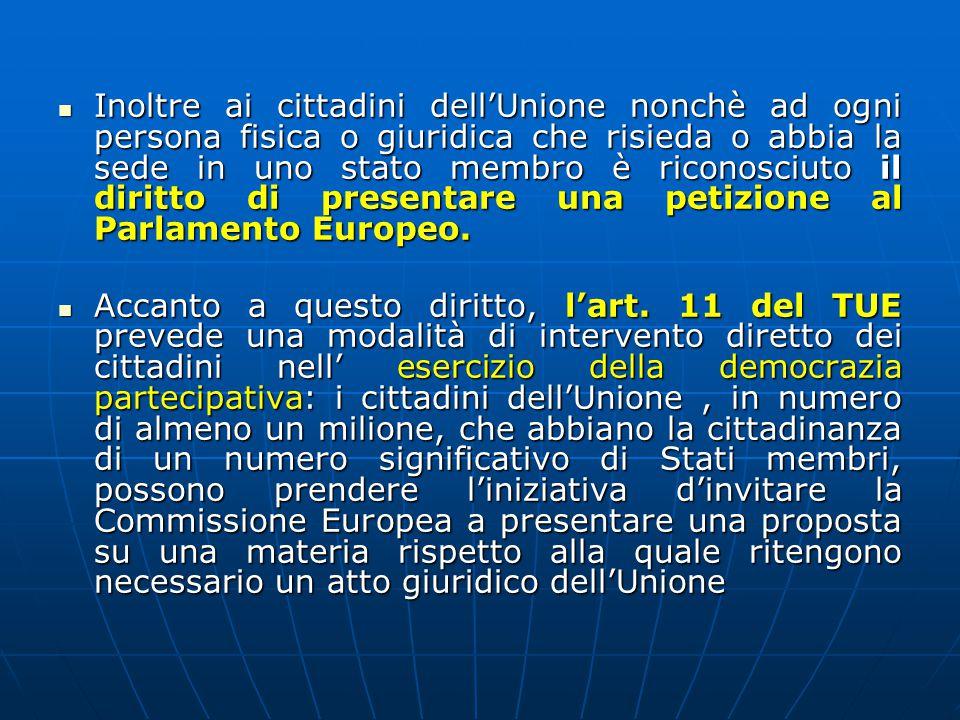 Inoltre ai cittadini dell'Unione nonchè ad ogni persona fisica o giuridica che risieda o abbia la sede in uno stato membro è riconosciuto il diritto di presentare una petizione al Parlamento Europeo.
