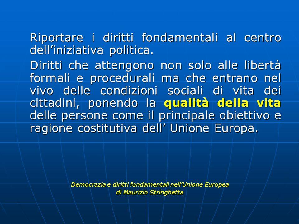 Riportare i diritti fondamentali al centro dell'iniziativa politica.
