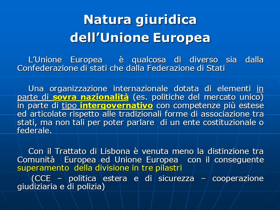 Natura giuridica dell'Unione Europea