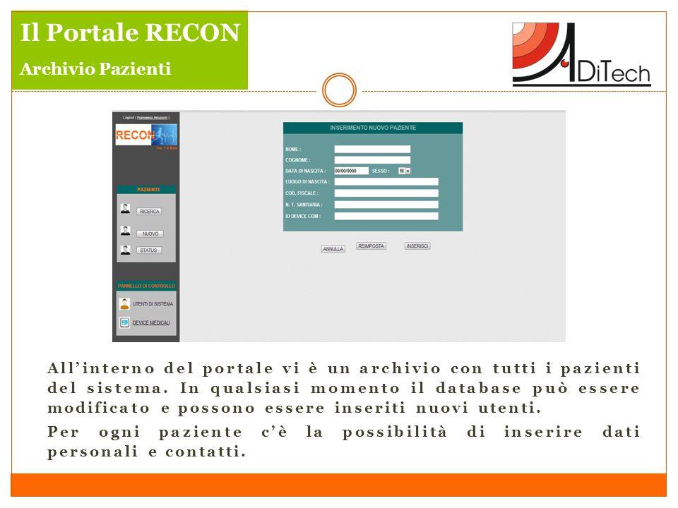 Il Portale RECON Archivio Pazienti