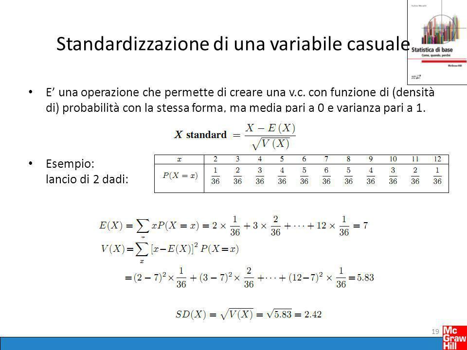 Standardizzazione di una variabile casuale