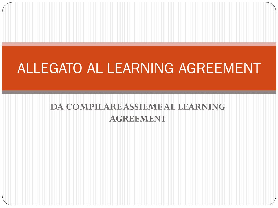 ALLEGATO AL LEARNING AGREEMENT
