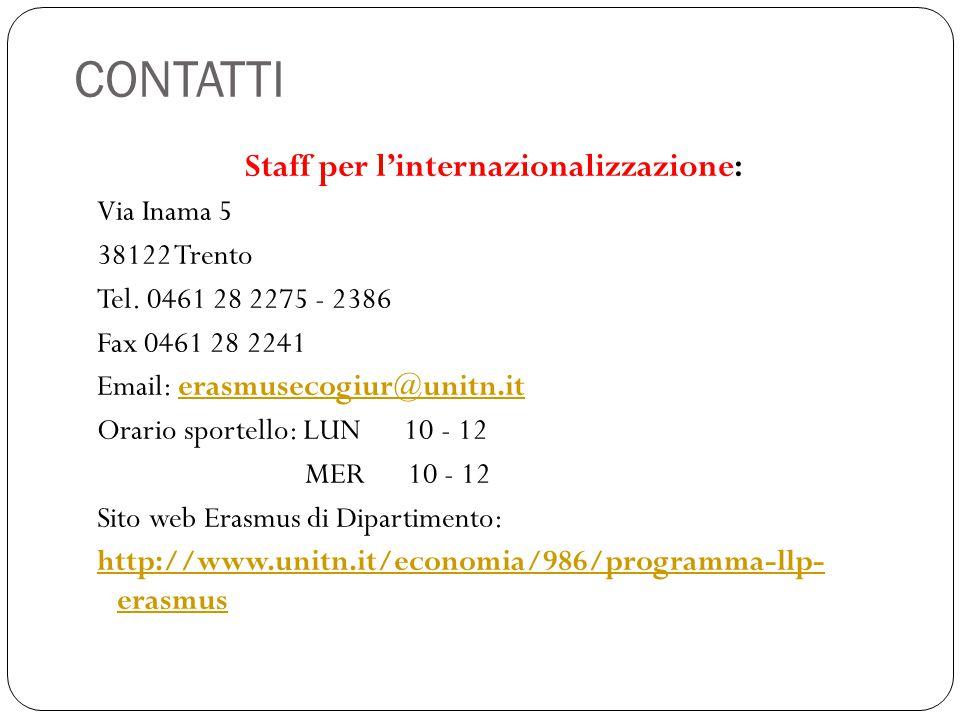 Staff per l'internazionalizzazione: