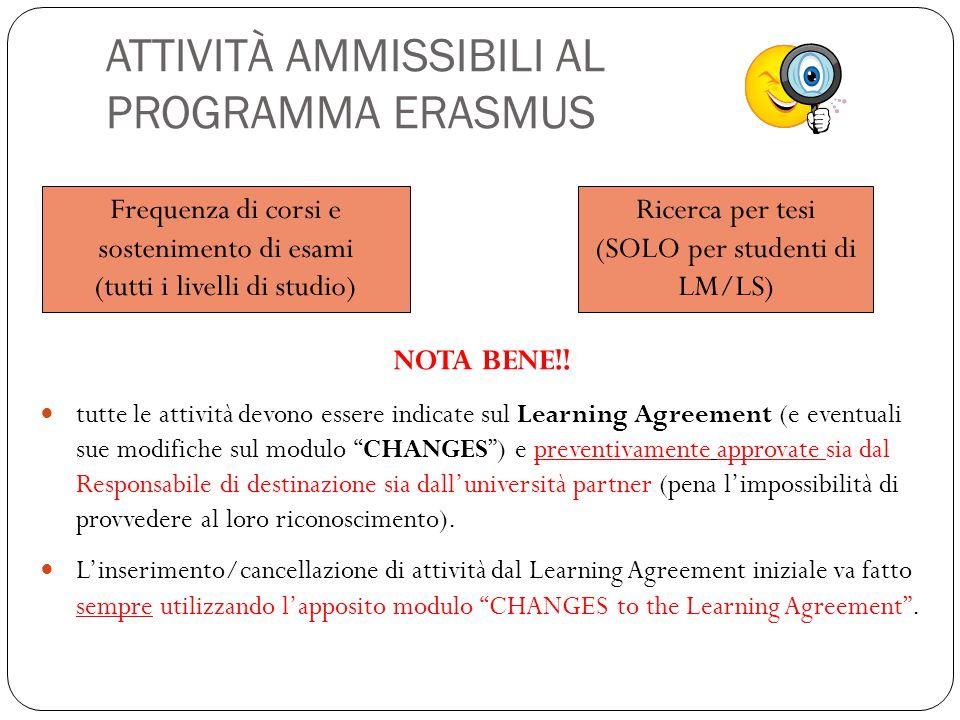 ATTIVITÀ AMMISSIBILI AL PROGRAMMA ERASMUS