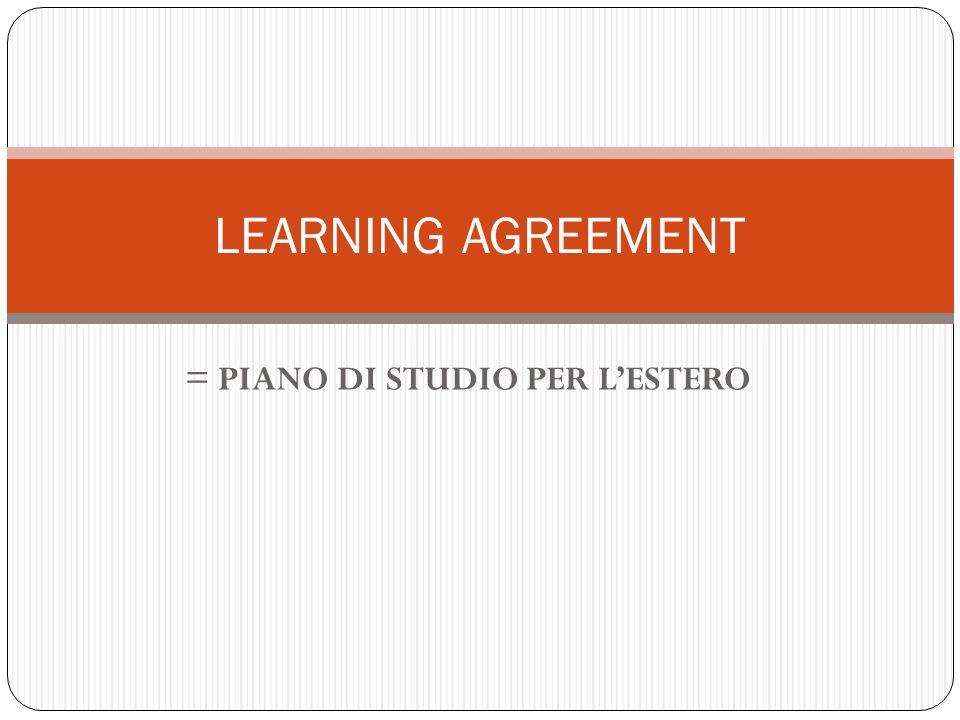 = PIANO DI STUDIO PER L'ESTERO
