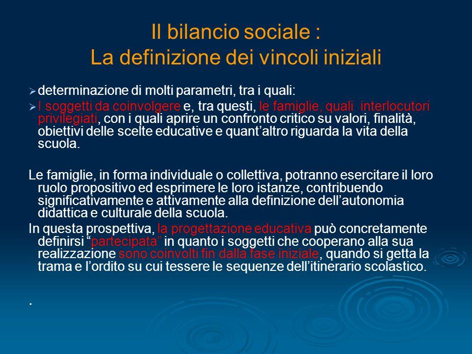 Il bilancio sociale : La definizione dei vincoli iniziali