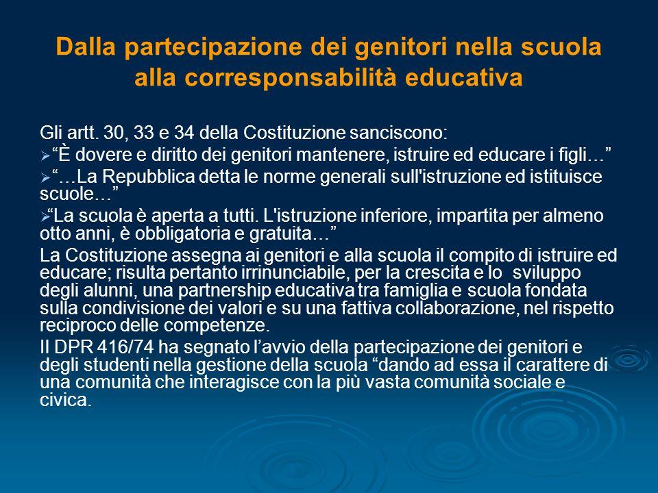 Dalla partecipazione dei genitori nella scuola alla corresponsabilità educativa