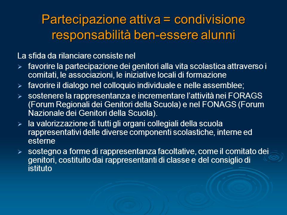 Partecipazione attiva = condivisione responsabilità ben-essere alunni