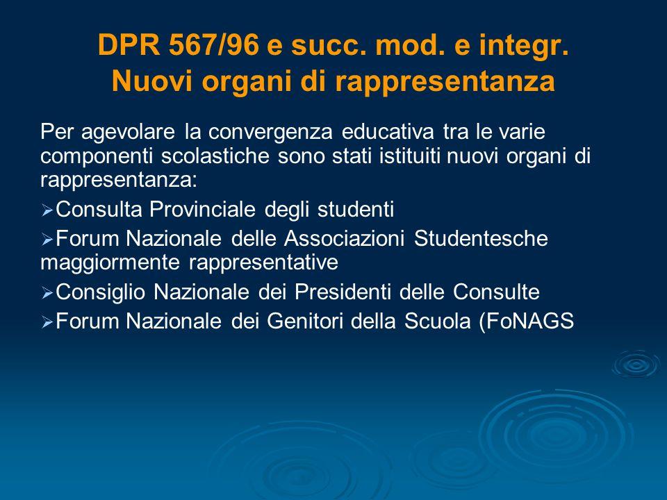 DPR 567/96 e succ. mod. e integr. Nuovi organi di rappresentanza