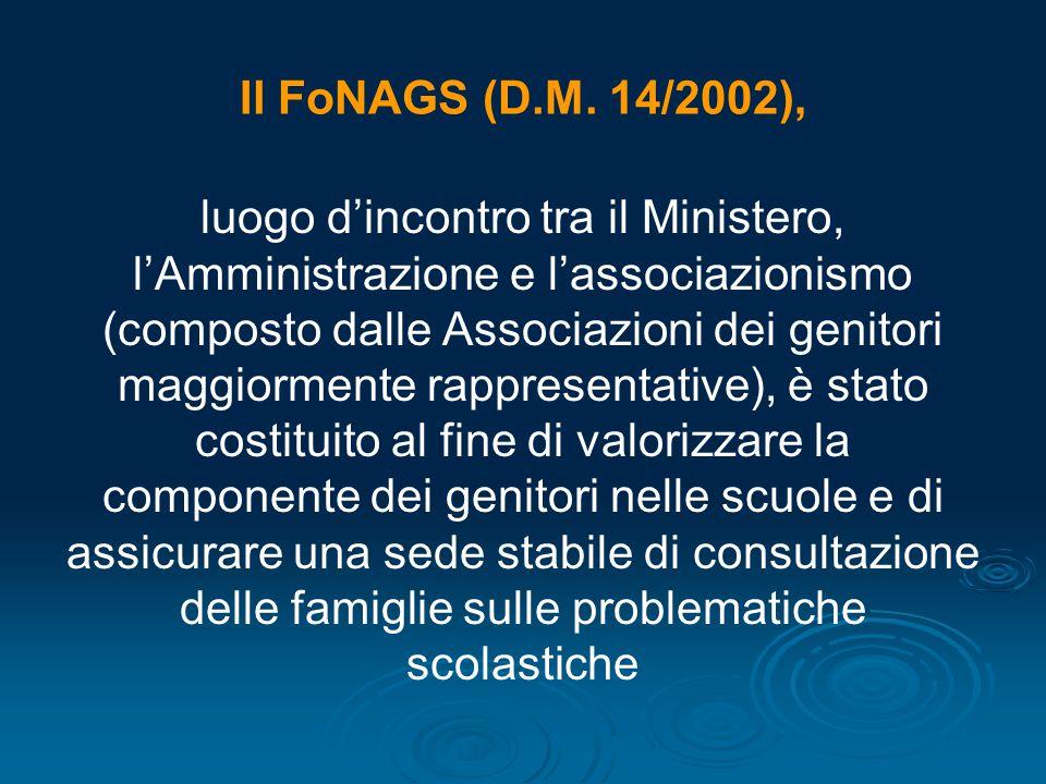 Il FoNAGS (D.M. 14/2002),