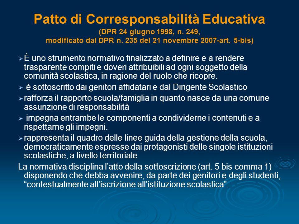 Patto di Corresponsabilità Educativa (DPR 24 giugno 1998, n