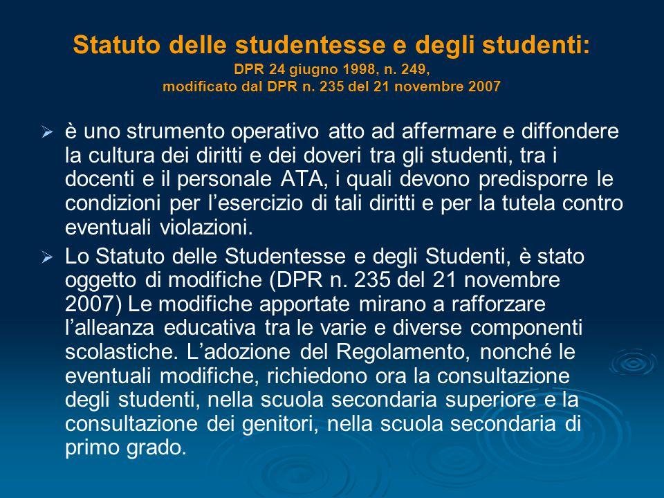 Statuto delle studentesse e degli studenti: DPR 24 giugno 1998, n
