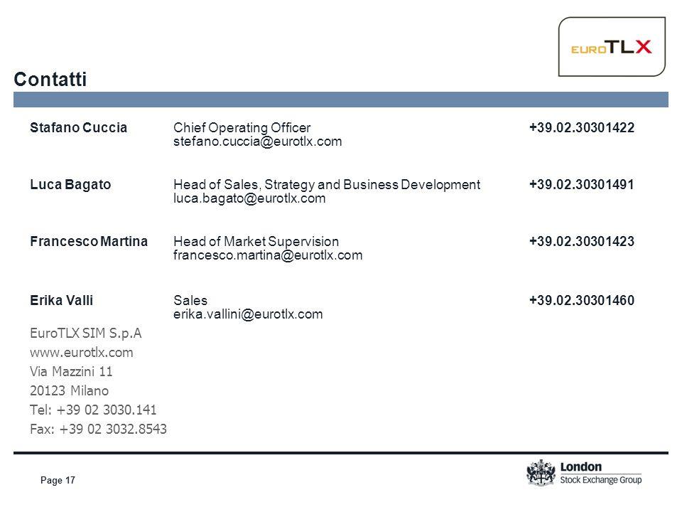 Contatti Stafano Cuccia Chief Operating Officer +39.02.30301422 stefano.cuccia@eurotlx.com.
