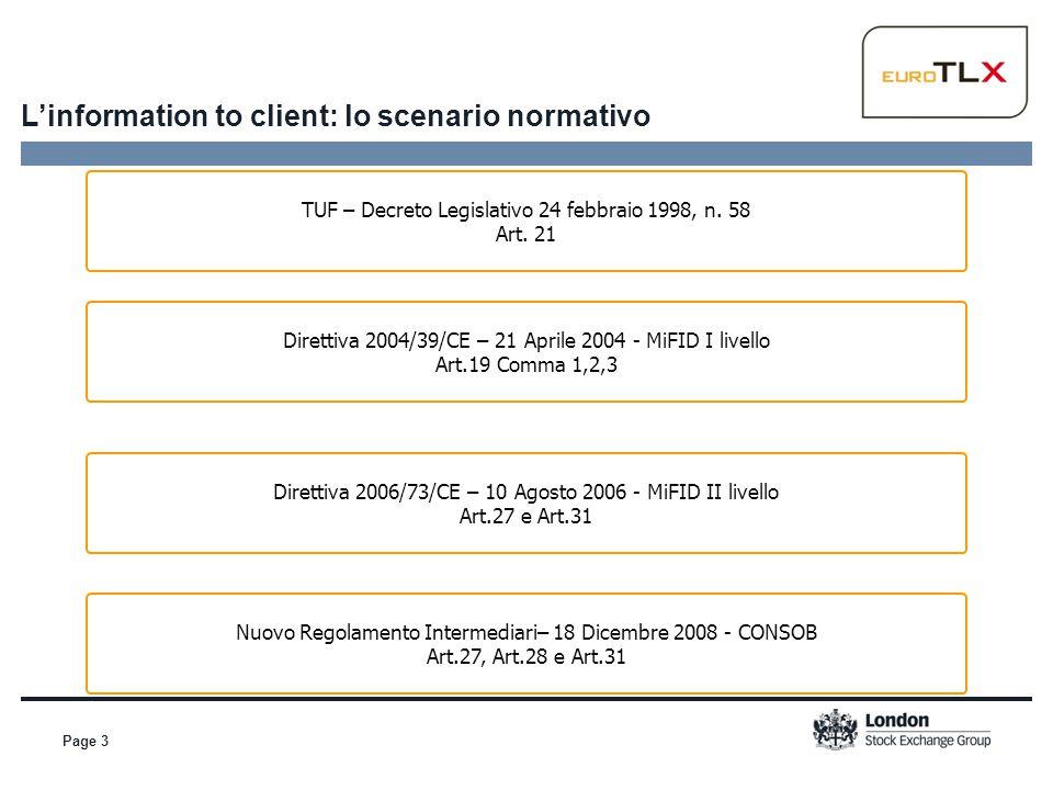 L'information to client: lo scenario normativo