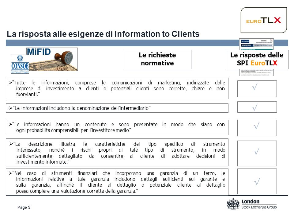 La risposta alle esigenze di Information to Clients