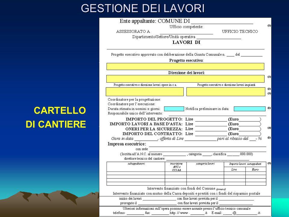 GESTIONE DEI LAVORI CARTELLO DI CANTIERE