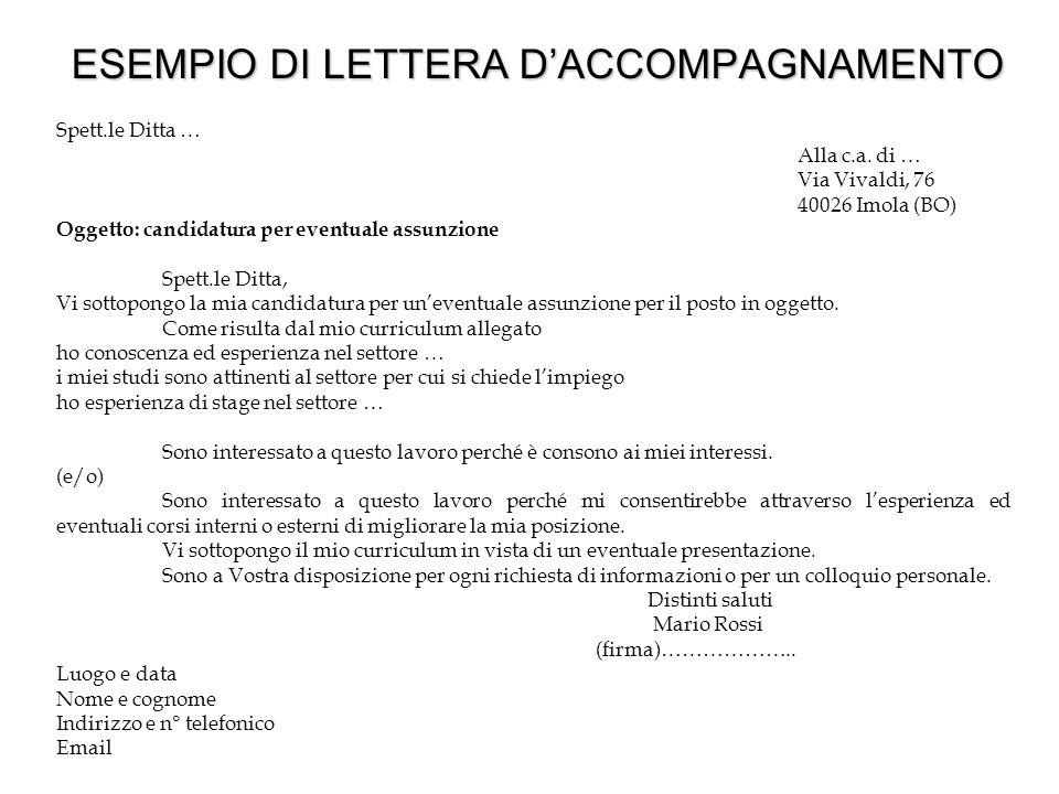 ESEMPIO DI LETTERA D'ACCOMPAGNAMENTO