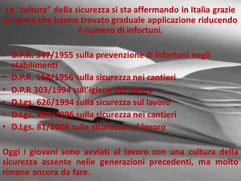 La cultura della sicurezza si sta affermando in Italia grazie a norme che hanno trovato graduale applicazione riducendo il numero di infortuni.