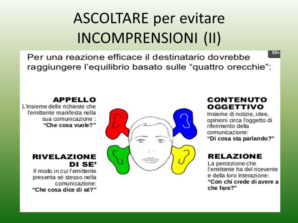 ASCOLTARE per evitare INCOMPRENSIONI (II)