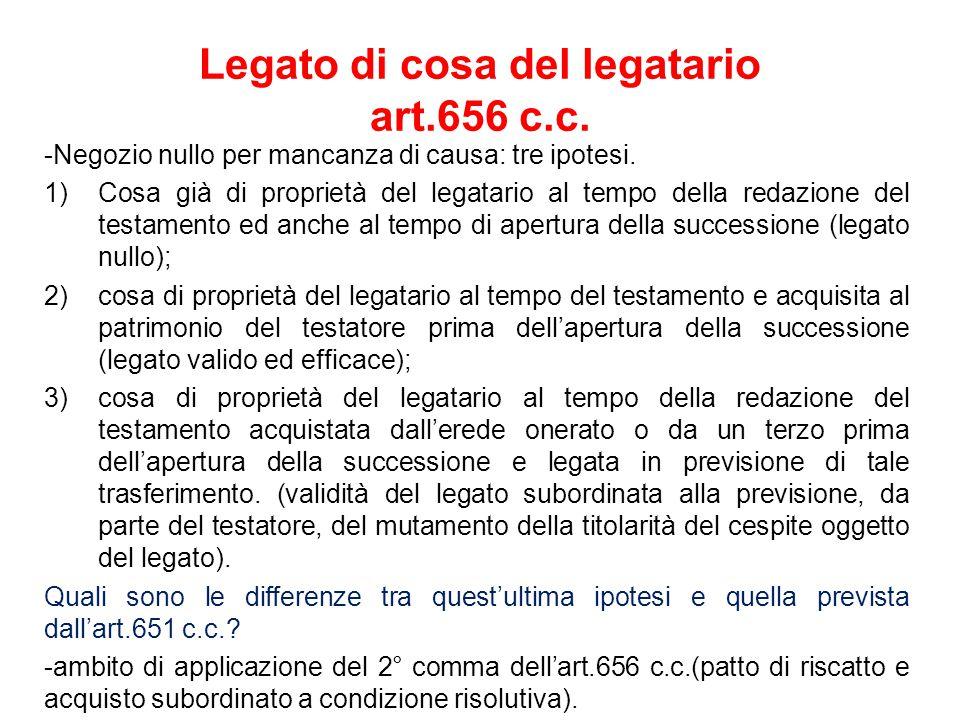 Legato di cosa del legatario art.656 c.c.