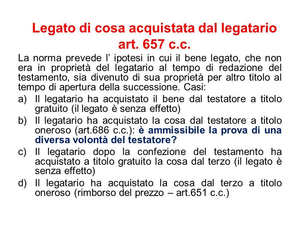 Legato di cosa acquistata dal legatario art. 657 c.c.