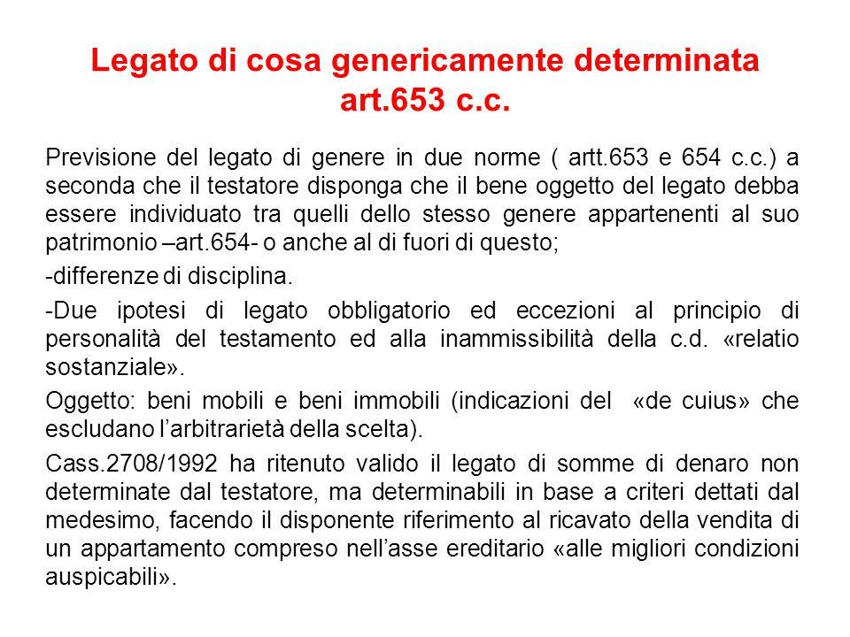 Legato di cosa genericamente determinata art.653 c.c.