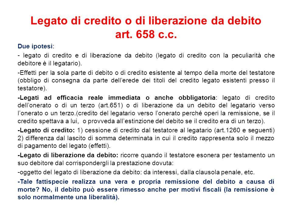 Legato di credito o di liberazione da debito art. 658 c.c.
