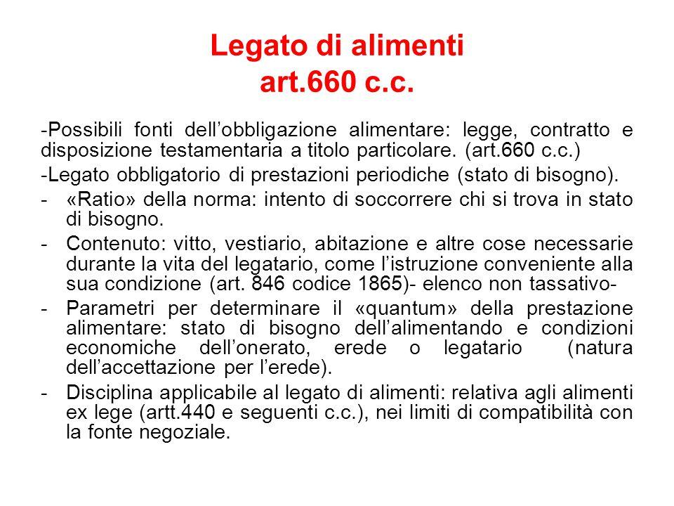 Legato di alimenti art.660 c.c.