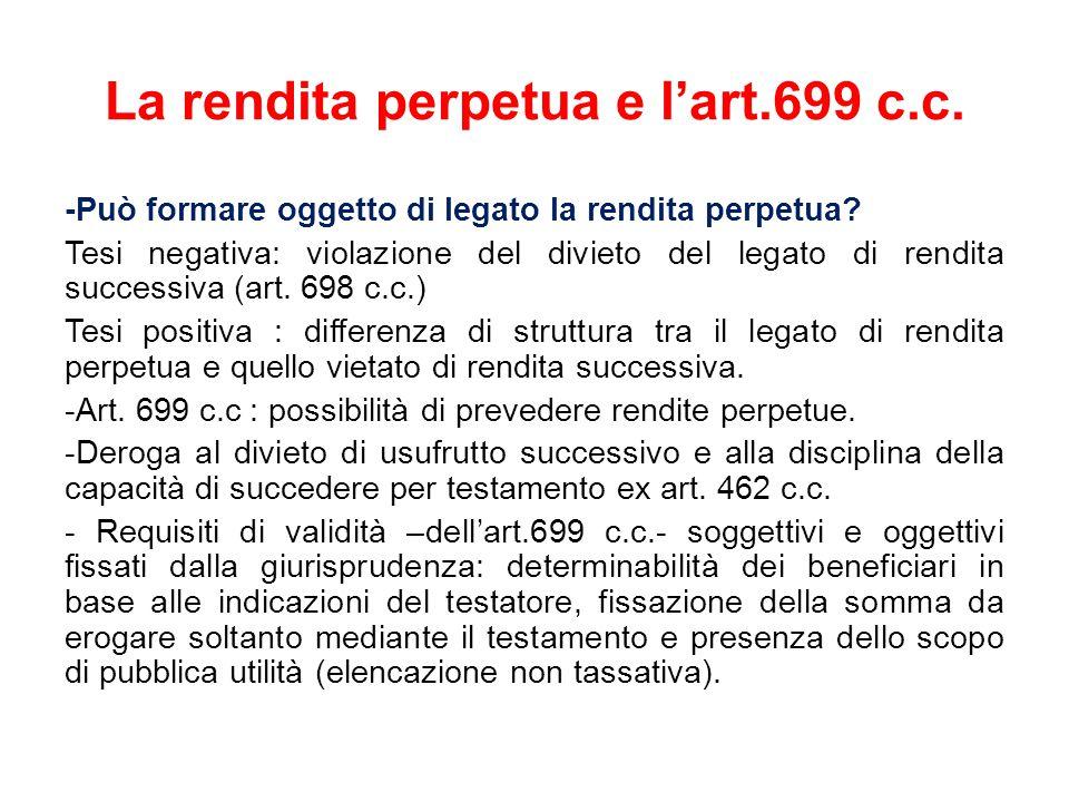 La rendita perpetua e l'art.699 c.c.