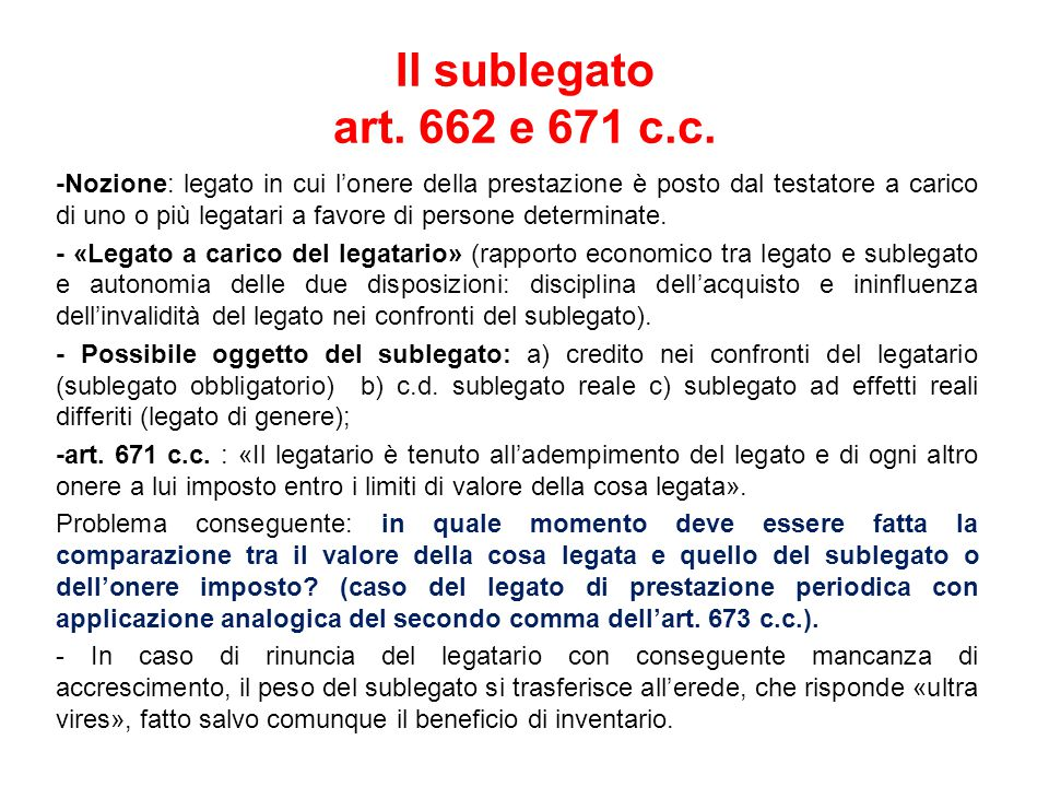 Il sublegato art. 662 e 671 c.c.