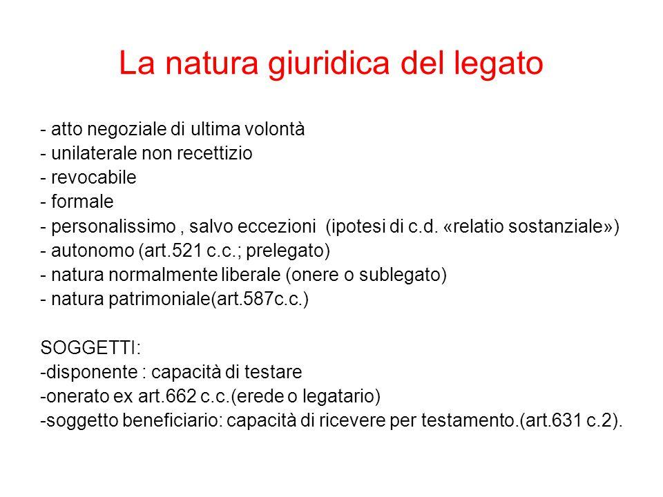 La natura giuridica del legato