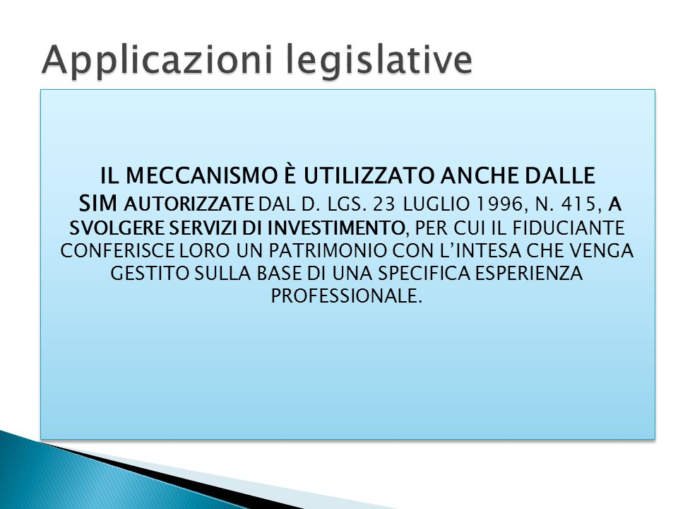 Applicazioni legislative
