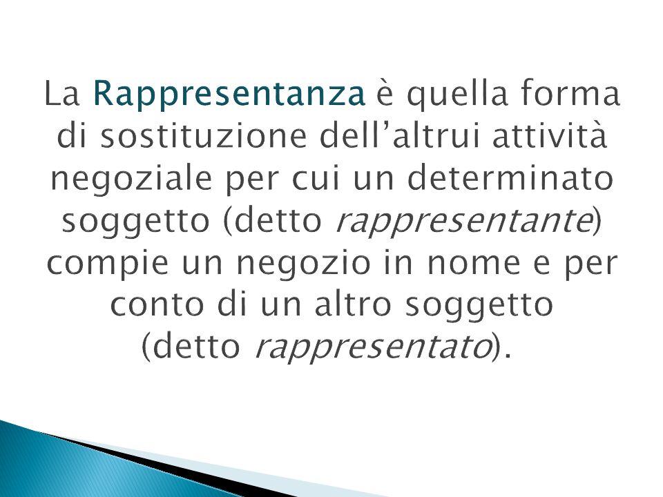 La Rappresentanza è quella forma di sostituzione dell'altrui attività negoziale per cui un determinato soggetto (detto rappresentante) compie un negozio in nome e per conto di un altro soggetto (detto rappresentato).