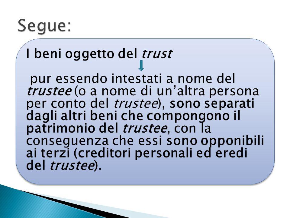 Segue: I beni oggetto del trust