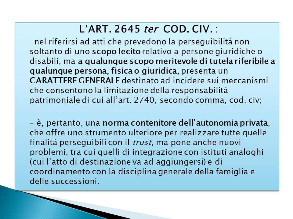 L'ART. 2645 ter COD. CIV. :