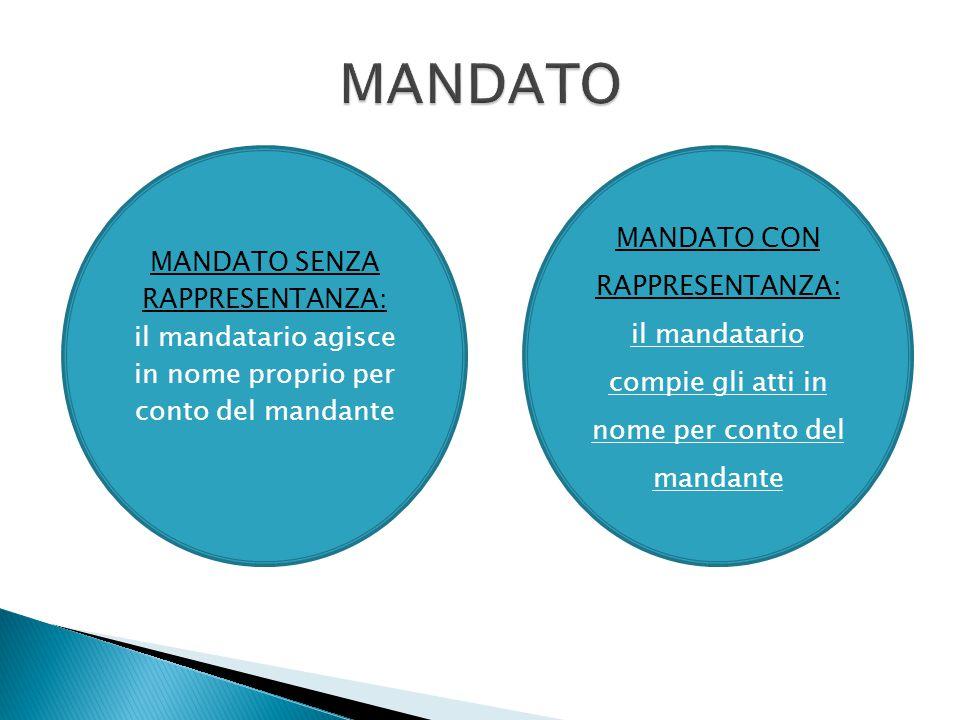 MANDATO MANDATO CON RAPPRESENTANZA: MANDATO SENZA RAPPRESENTANZA: